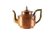 Vintage copper brass tea pot with handle isolated on white background