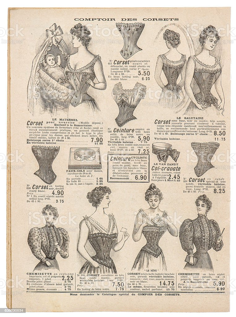 Vintage corset Antique engraved picture fashion shopping Paris stock photo