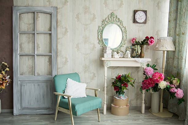 vintage country house interior - retro decor stock photos and pictures