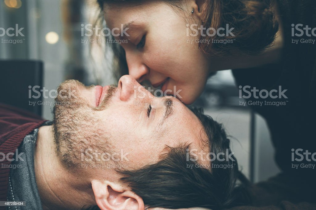 Vintage couple.  Coffee shop stock photo
