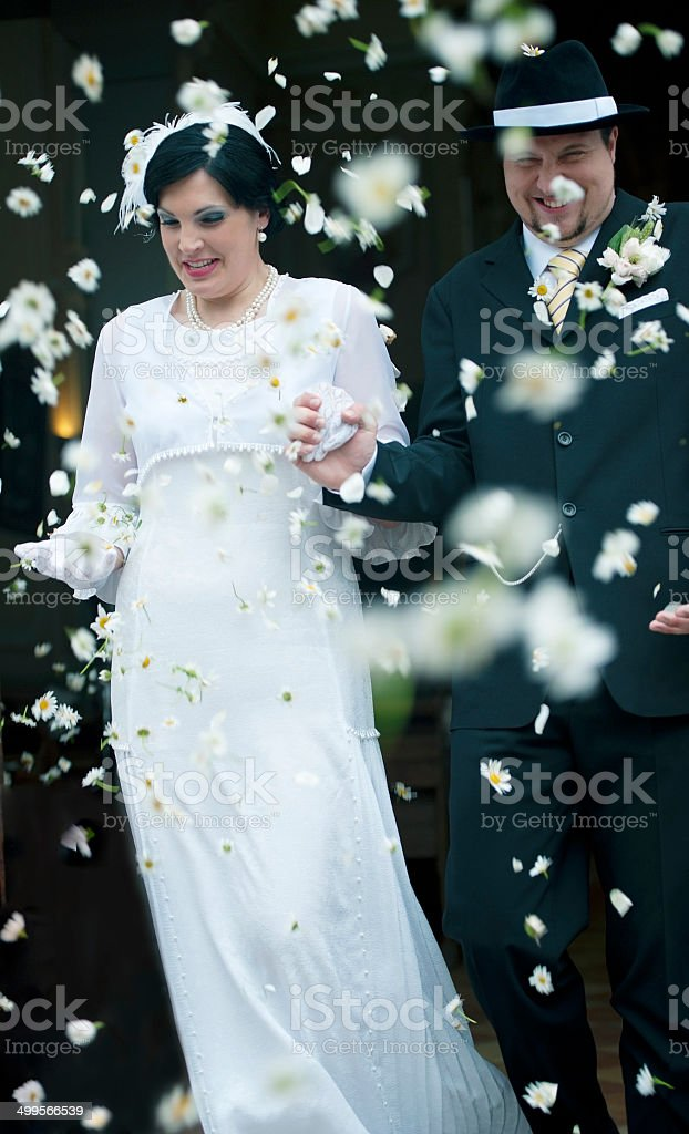 Vintage Couple in Love on their Wedding Day royalty-free stock photo