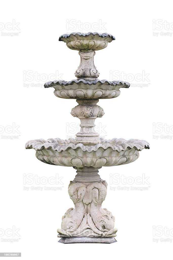 Vintage courtyard fountain isolated on white stock photo