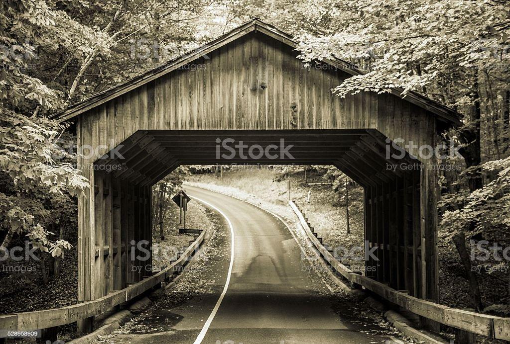 Vintage Covered Bridge In Sleeping Bear Dunes Michigan stock photo