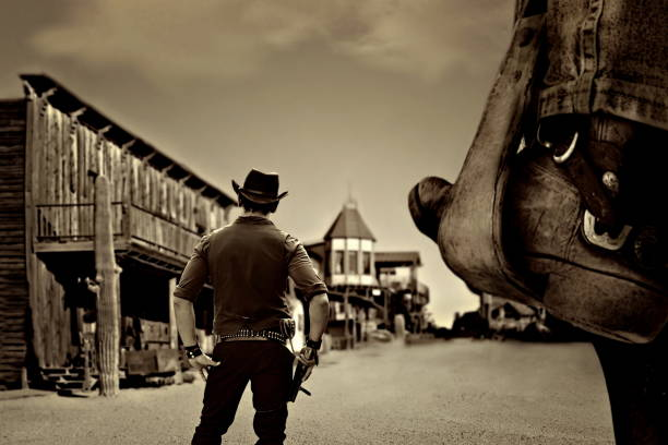 vintage cowboy western sheriff in old wild west ghost town wild west stock pictures, royalty-free photos & images