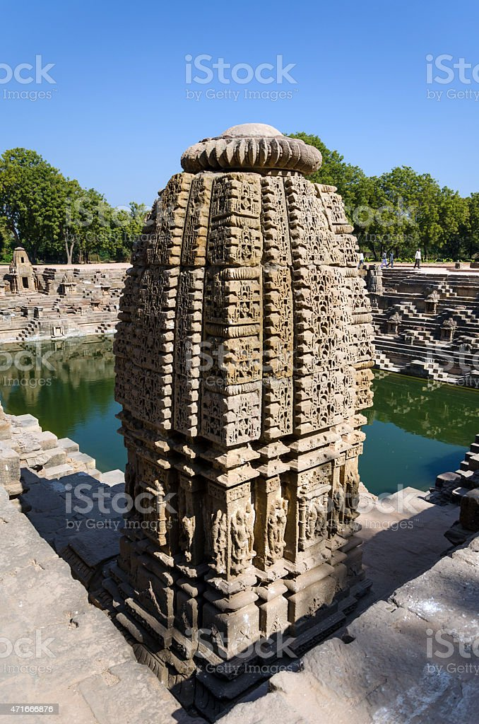 Vintage crafted designs on rocks at Sun Temple Modhera, Ahmedaba stock photo
