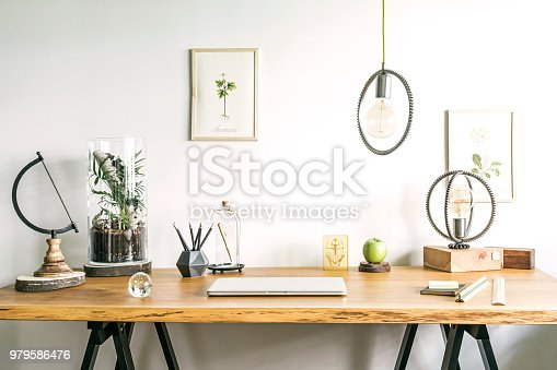 istock Vintage, creative home office interior with wooden desk, books, laptop, romantic illustrations of plants, lamp and office accessories. 979586476