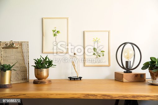 istock Vintage, creative home office interior with wooden desk, notebooks, romantic illustrations of plants, table lamp and office accessories. Stylish space for freelancer. 979588370