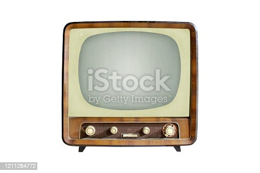 istock Vintage CRT TV set isolated on white background 1211284772