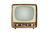 istock Vintage CRT TV set isolated on white background 1211284772
