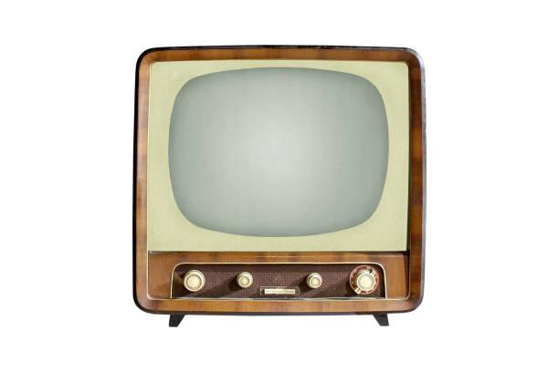 vintage crt tv set izolowany na białym tle - archiwalny zdjęcia i obrazy z banku zdjęć