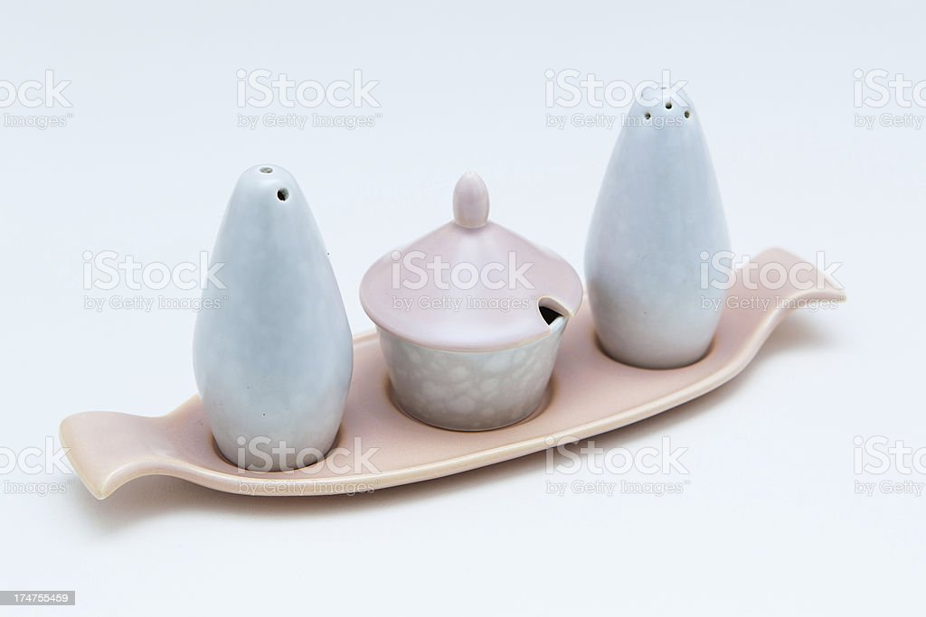 Vintage cruet salt and pepper set from Poole Pottery royalty-free stock photo