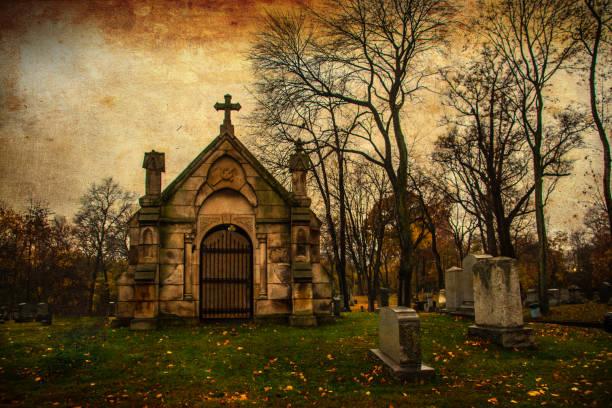 vintage crypte in een oude begraafplaats - mausoleum stockfoto's en -beelden