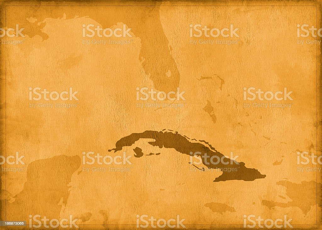 Vintage cuba map stock photo