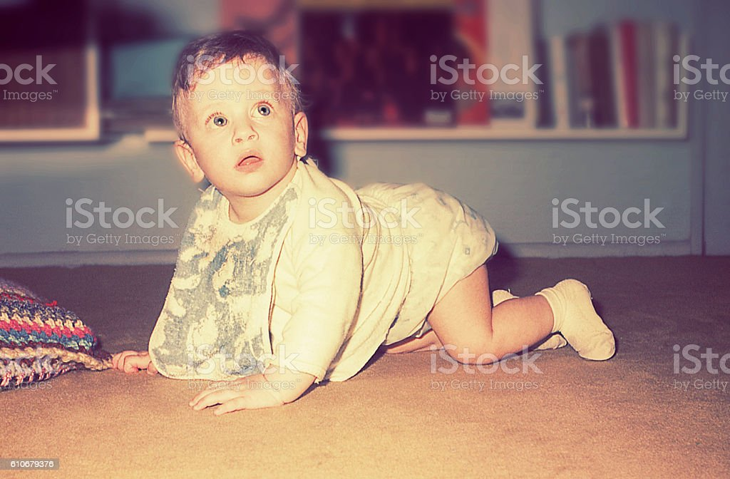 vintage cute baby boy stock photo