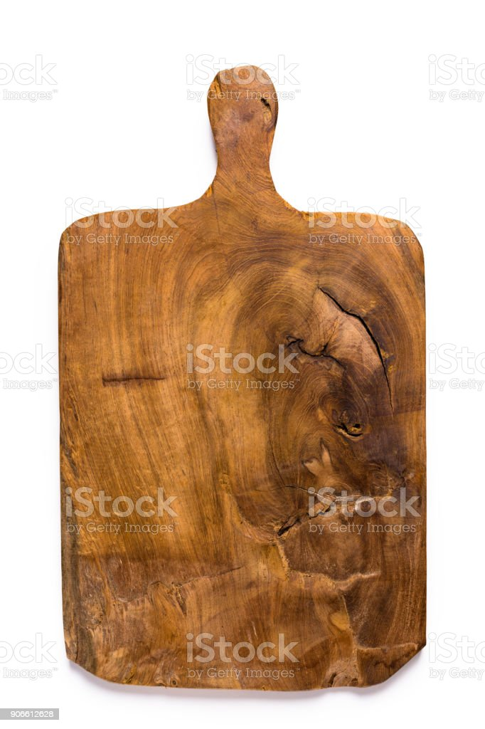 Vintage cutting board isolated on white stock photo