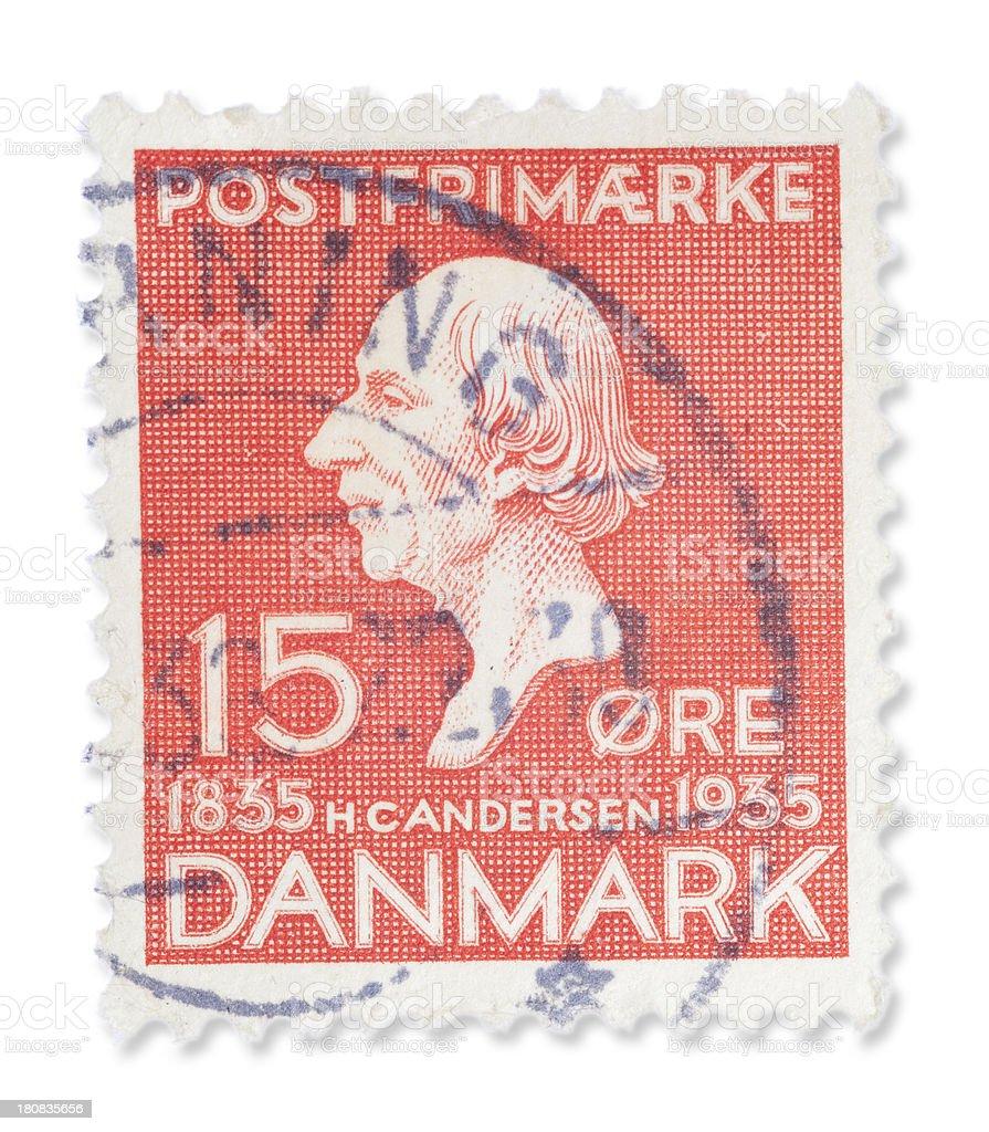 Vintage Danish stamp - Hans Christian Andersen royalty-free stock photo