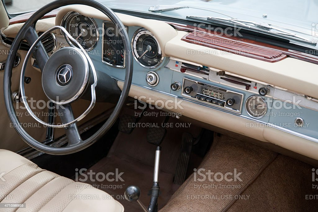 Vintage dashboard of a german Mercedes 280 SL royalty-free stock photo