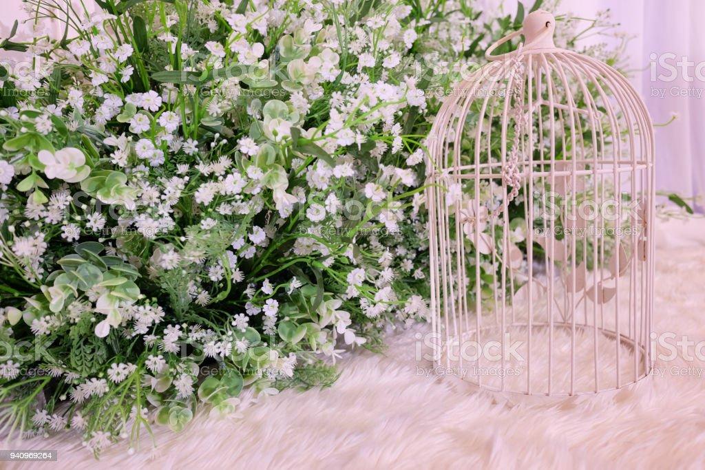 Vintage decorative metal white bird cage flowerstand with white vintage decorative metal white bird cage flower stand with white flowers and greenery floral mightylinksfo