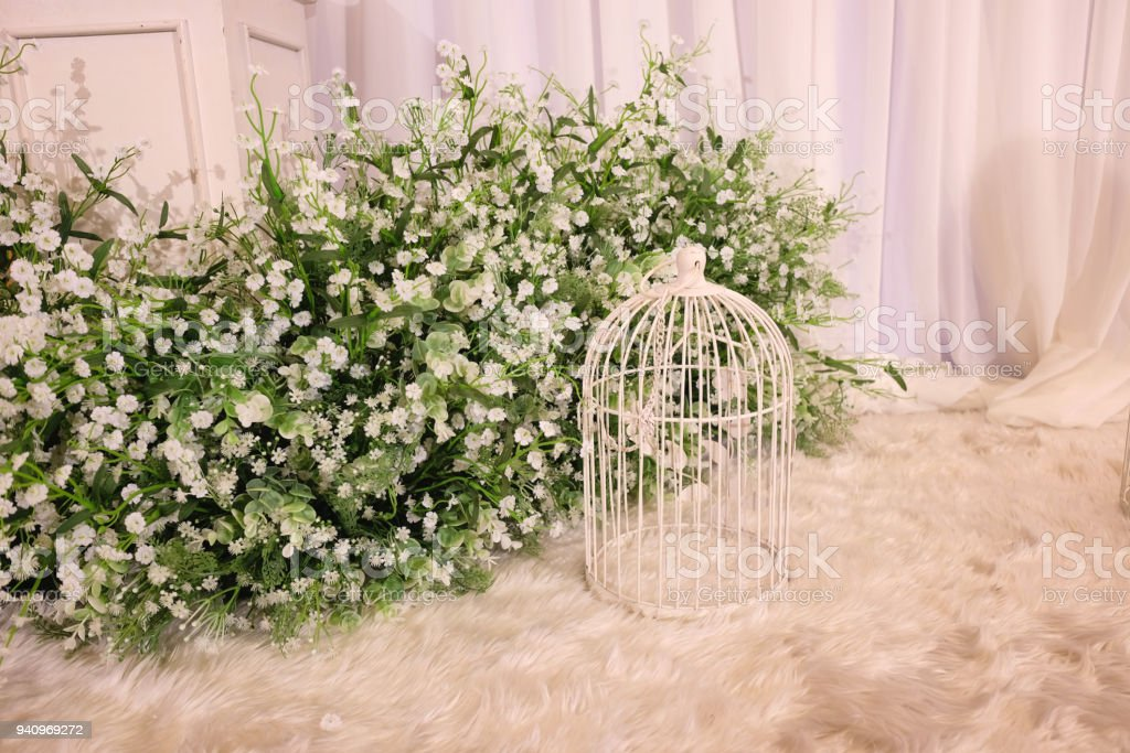 Vintage Decorative Metal White Bird Cage Flowerstand With White ...