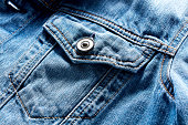 Vintage denim or blue jeans jacket pocket and button. Close up view.