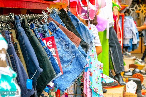 Vintage denim shorts on display at Camden Market in London