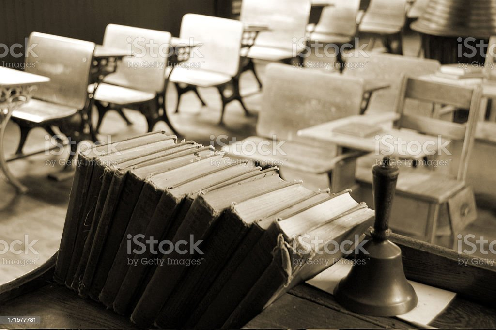 Vintage  Desks and Books in Sepia stock photo