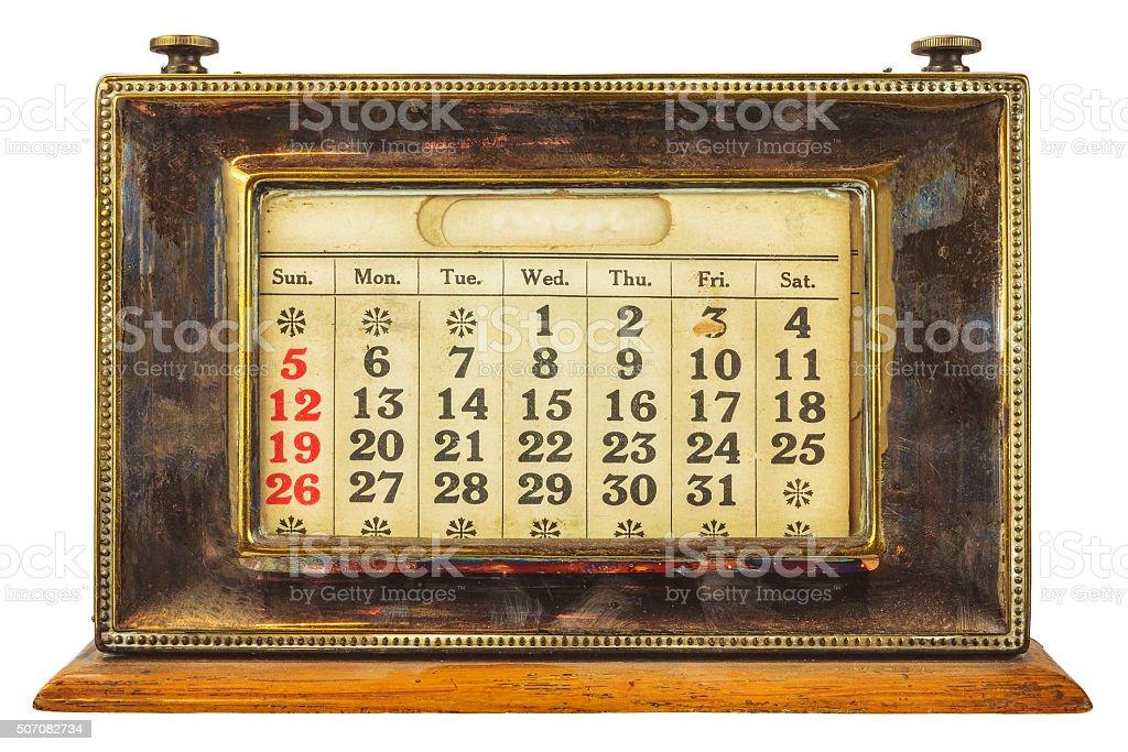 Vintage desktop calendar isolated on white royalty-free stock photo - Vintage Desktop Calendar Isolated On White Stock Photo IStock