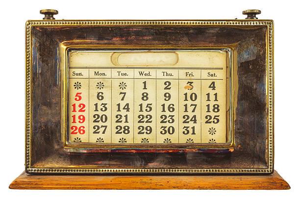 Vintage desktop calendar isolated on white stock photo