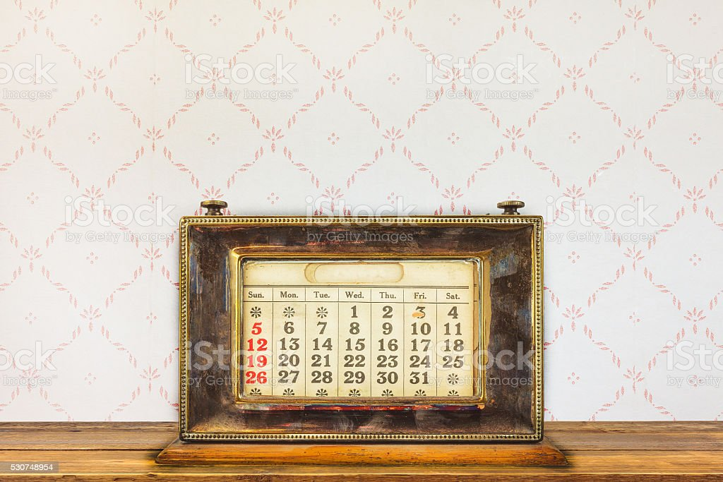 Vintage Desktop Calendar On A Wooden Table Stock Photo More