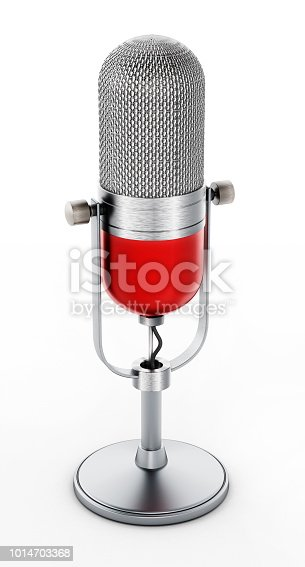 Vintage desktop microphone isolated on white.