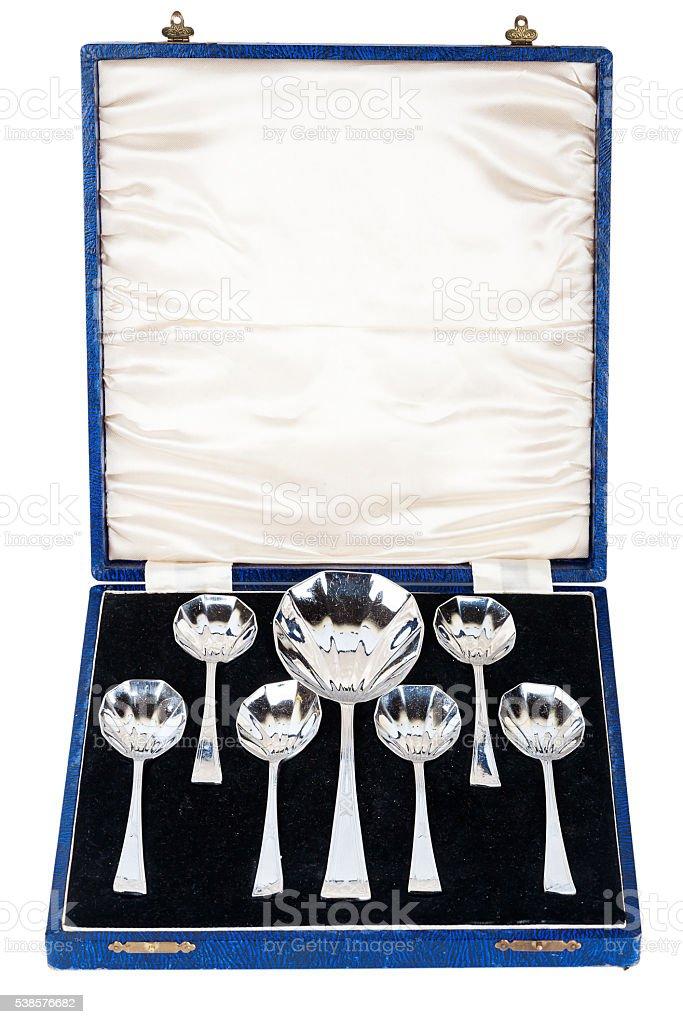 Vintage dessert spoon set stock photo