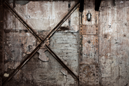 istock Vintage Destroyed Brick Wall Background 185235619
