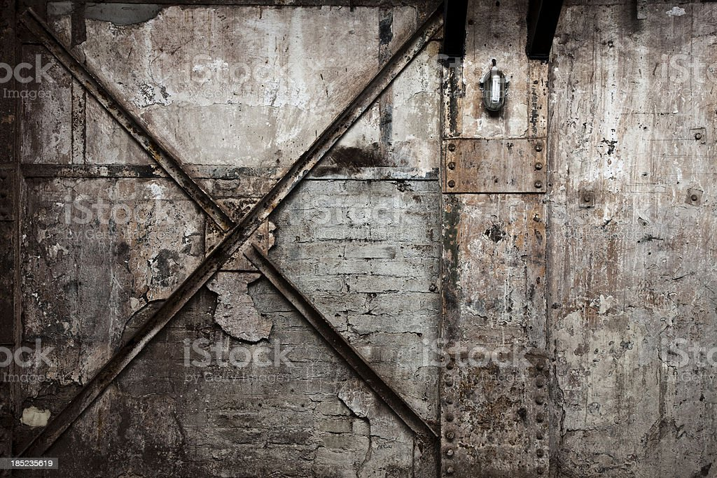 Vintage Destroyed Brick Wall Background stock photo