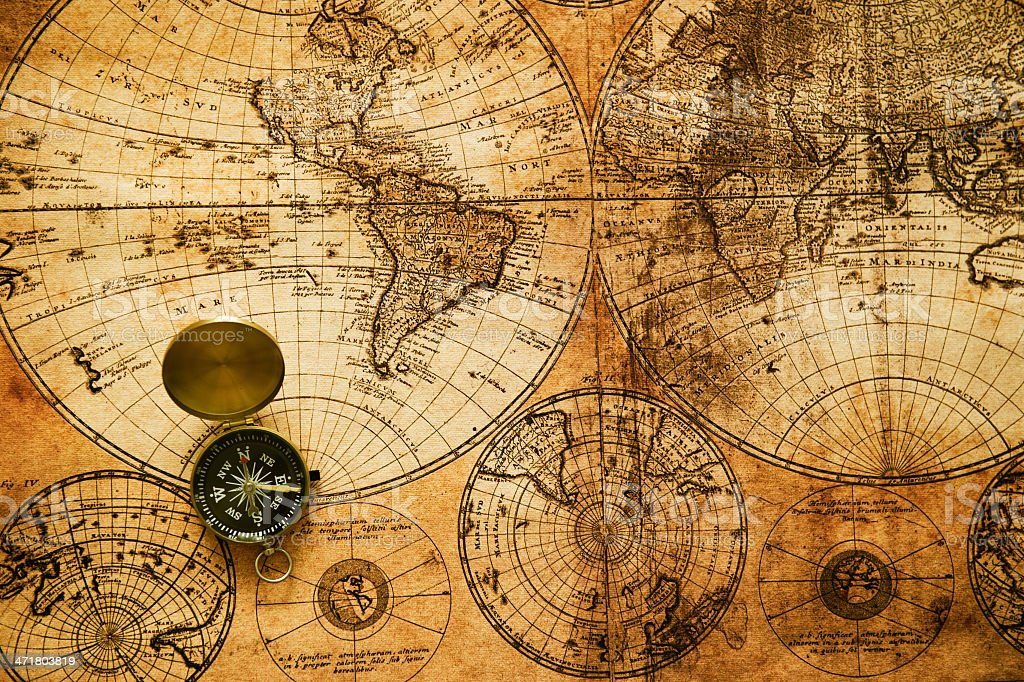 Vintage detailed navigation map with mariner's compass stock photo