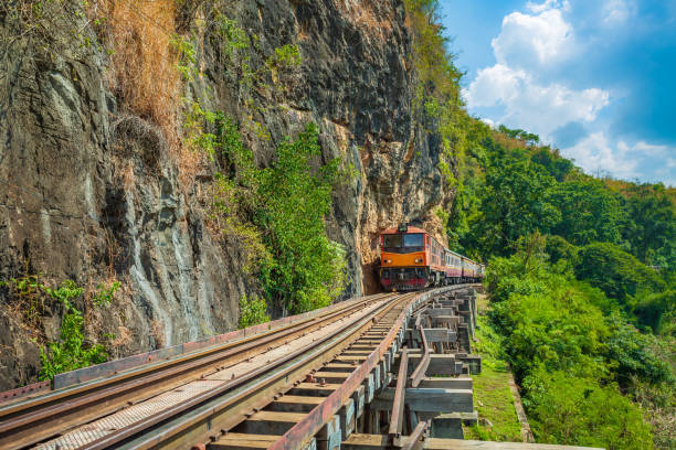 Vintage diesel train on railway taken in Kanchanaburi, Thailand stock photo