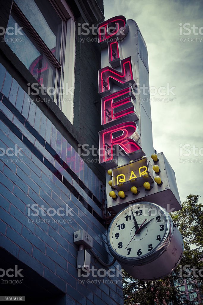 Vintage diner sign stock photo