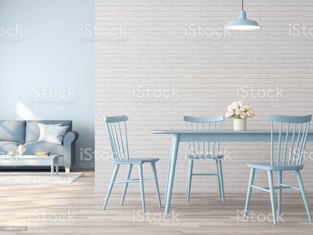 Comedor Vintage Y Salón Interior Con Render 3d Concepto De ...