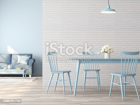 994217090istockphoto Vintage dining and living room interior with white and blue concept 3d render 1089781740