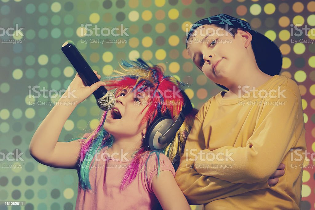Vintage disco children royalty-free stock photo