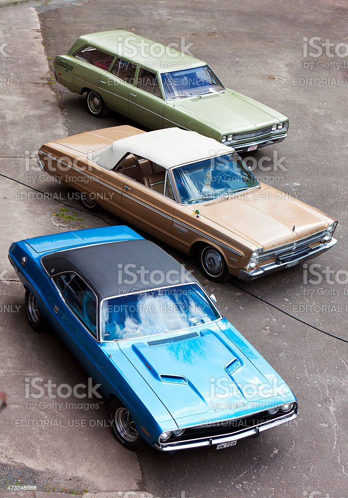 Vintage Dodge and Plymouth cars stock photo