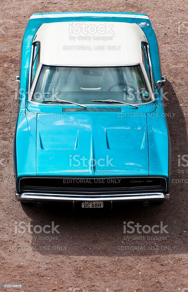 Vintage Dodge Charger High Angle View stock photo