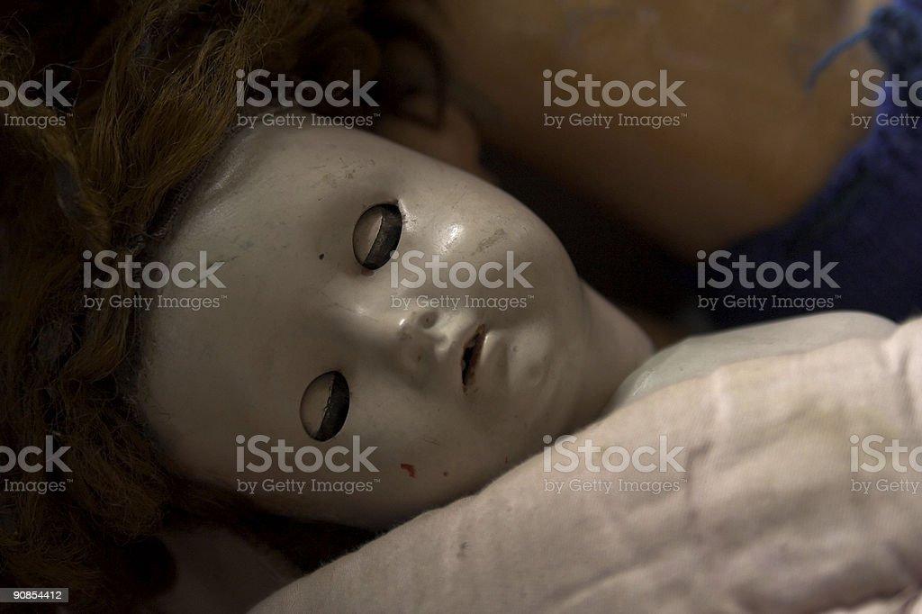 Vintage Doll Sleeping stock photo
