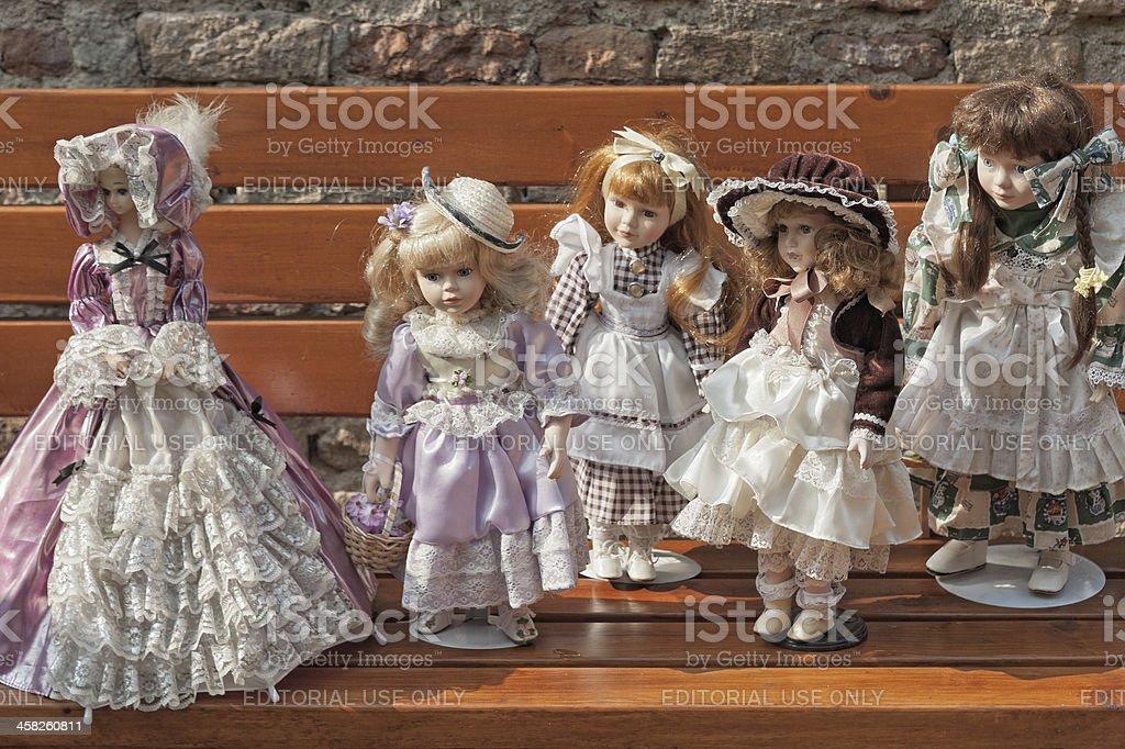 Vintage dolls stock photo