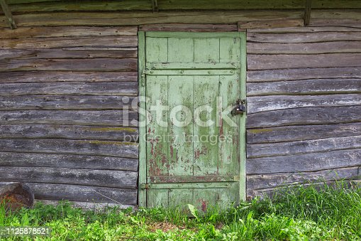 Vintage wooden door of green color