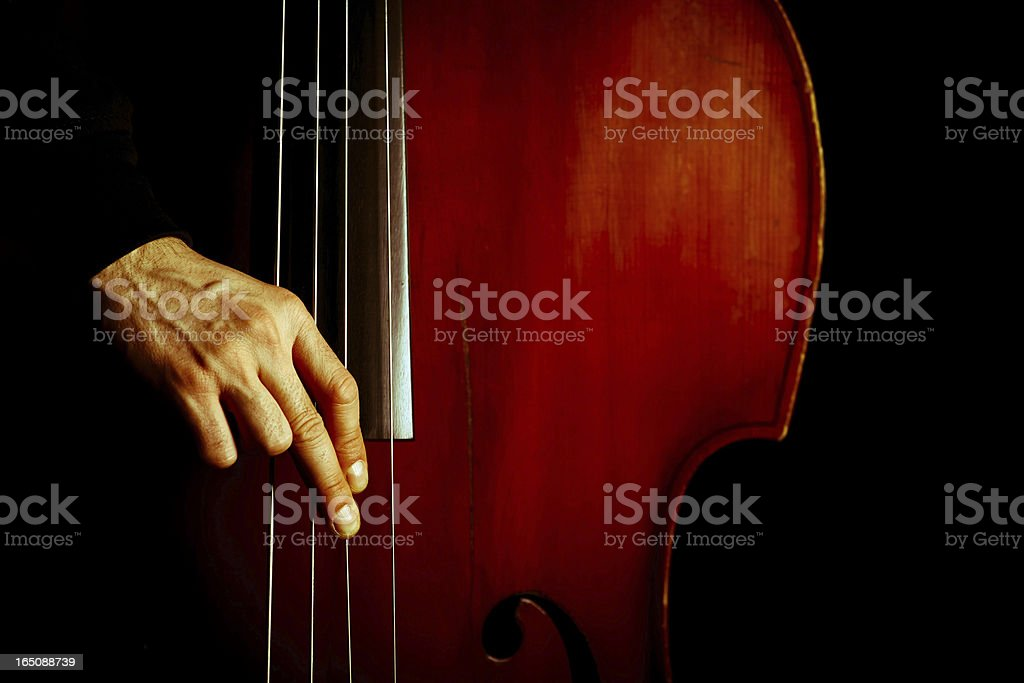 Vintage double bass stock photo