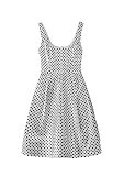 White with black polka dots dress on white background