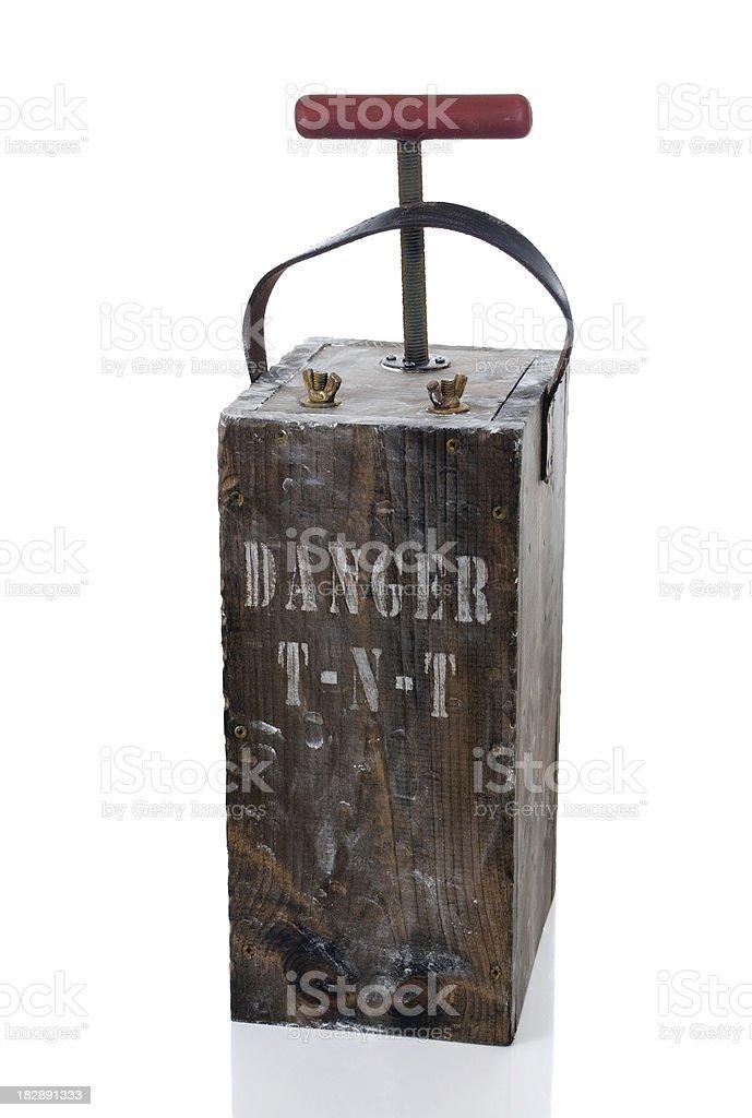 Vintage Dynamite Detonator Plunger Box royalty-free stock photo