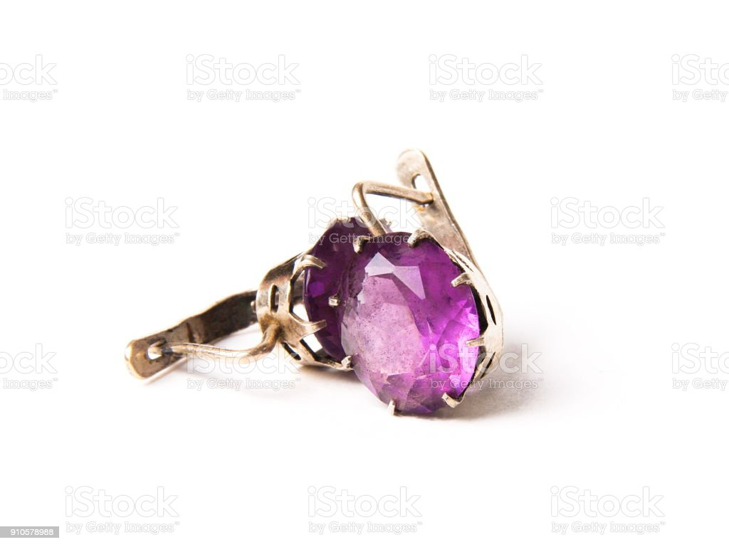 Vintage earrings with alexandrite stone stock photo