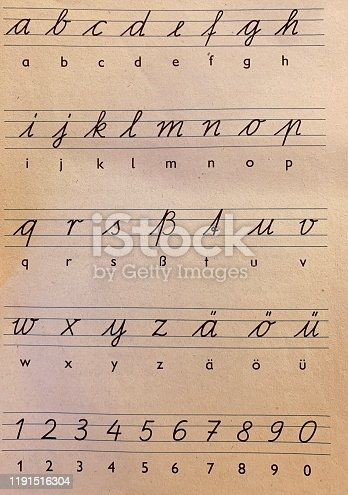 Vintage east germany, , handwritten alphabet, lowercase letters