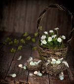 Vintage Easter Basket and Easter Eggs on an Old Wood Background